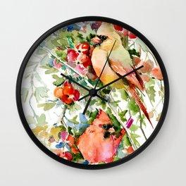 Cardinal Birds and Hawthorn, Cardinal Bird Christmas Design art floral bird decor Wall Clock