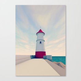 Low Poly Lighthouse Canvas Print