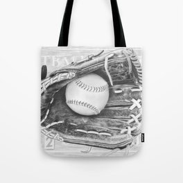 Softball (black and white) Tote Bag