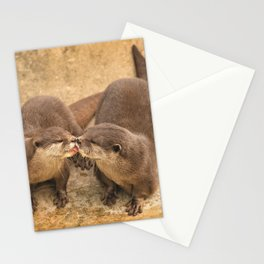Kissing Otters Stationery Cards