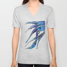Abstract Blue And White Art - Flowing 5 - Sharon Cummings Unisex V-Neck