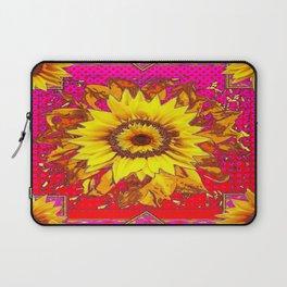 Sumptuous Yellow-Golden Sunflower  on Red Pattern going Fuchsia Abstract Laptop Sleeve