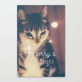 Merry and bright, cute cat and fairy lights Canvas Print