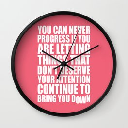 Lab No. 4 - You Can Never Progress If You Are Letting Things Gym Inspirational Quotes Poster Wall Clock