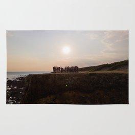 la mine france aerial drone shot cliff people sunset Rug