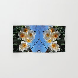 Sunny Faces of Spring - Gold and White Narcissus Flowers Hand & Bath Towel