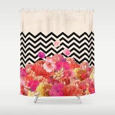 Chevron Flora II Shower Curtain