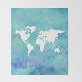 Watercolor Earth Throw Blanket