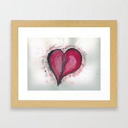 Cracked & Splattered Heart Framed Art Print