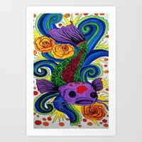 koi fish Art Prints featuring Koi Fish by Laurkinn12