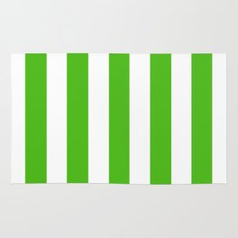 Kelly green - solid color - white vertical lines pattern Rug
