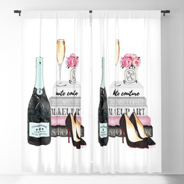 Champagne, pink ,Teal, books ,shoes, peonies ,Peony, Fashion illustration, Fashion ,Aman Blackout Curtain