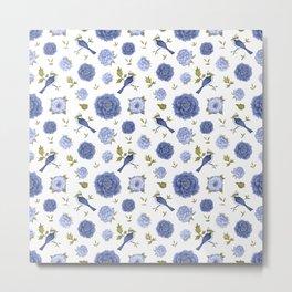 Blue peonies and birds - floral design Metal Print