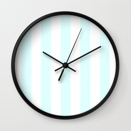 Light cyan heavenly - solid color - white vertical lines pattern Wall Clock