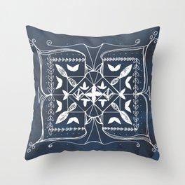 Navy Blue Art, Mandala Spirituality Meditation Focus Art, Butterfly Watercolor Line Art Throw Pillow