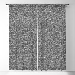 Vintage Japanese Clouds, Graphite Gray / Grey Blackout Curtain