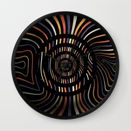 Color op art striped lines with circles Wall Clock