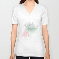 greyhound V-neck T-shirts featuring greyhound  by Ingrid Winkler