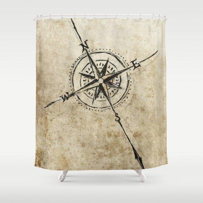 Compass Shower Curtain By Erinkellikilbane