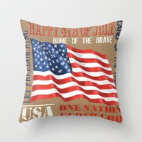 patriotic Throw Pillows featuring Patriotic Text by Debbie DeWitt