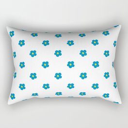 Blue and Yellow Ditsy Pattern Flowers Rectangular Pillow