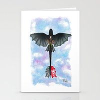 hiccup Stationery Cards featuring Hiccup and Toothless Flying from How to Train your Dragon 2 by Brietron Art