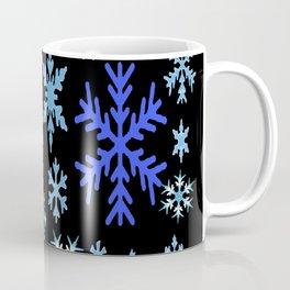 BLUE & PURPLE WINTER  SNOWFLAKES HOLIDAY ON BLACK Coffee Mug