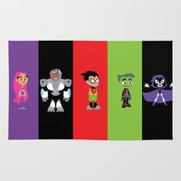 teen titans Area & Throw Rugs featuring Teen Titans Go by Adrian Mentus