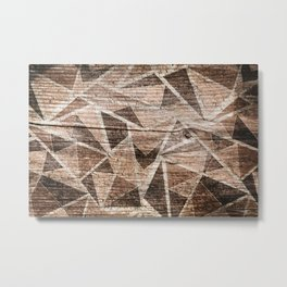 Old wood . Brown triangles . Metal Print