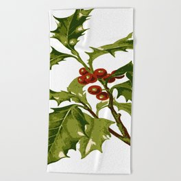 Holly Christmas Red Berry Beach Towel