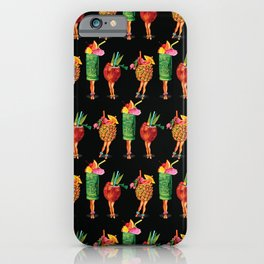 Tiki Cocktail Pin-Ups - Black iPhone Case