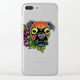 Boxer in Fawn - Day of the Dead Sugar Skull Dog Clear iPhone Case