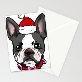 Boston Terrier Dog Christmas Hat Present Stationery Cards