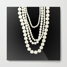 Fashion Designer Icons: Pearls Metal Print