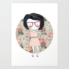 Nerdy girl Art Print
