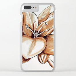 Lily Sepia Clear iPhone Case