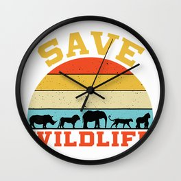 Save Wildlife Endangered Rhino Lion Elephant Tiger Gorilla T-Shirt Wall Clock
