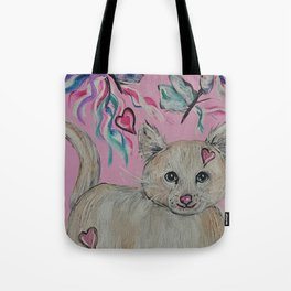 Kitty Cat with Butterflies Tote Bag