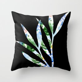 January leaves -watercolour on black background Throw Pillow