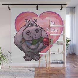 Hippopotamus Valentine's Day Wall Mural