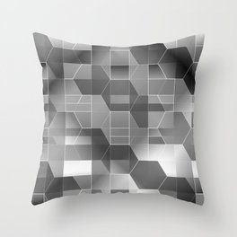 HexiPlaid Silver Throw Pillow