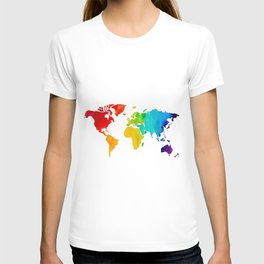 Original Watercolor - Map of The World - Travel Art - Chakra Rainbow Colors T-shirt