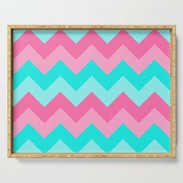 Hot Pink Turquoise Aqua Blue Chevron Zigzag Pattern Print Serving Tray