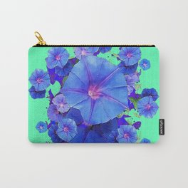 Decorative Green Pattern Blue Morning Glory Cluster Art Carry-All Pouch