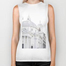 Antique Rome city walls, abstract white church art Biker Tank