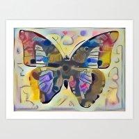 kandinsky Art Prints featuring Kandinsky Butterfly by Detailicious