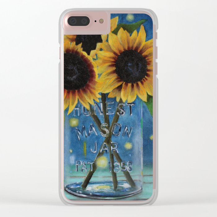 Lightning Bugs and Sunflowers Clear iPhone Case