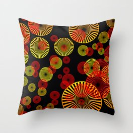 Spirals yellow red - black background Throw Pillow