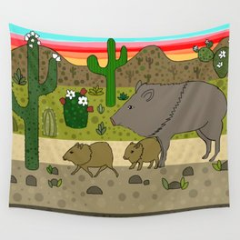 Javelinas in The Sonoran desert Wall Tapestry