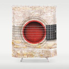 Old Vintage Acoustic Guitar with Japanese Flag Shower Curtain